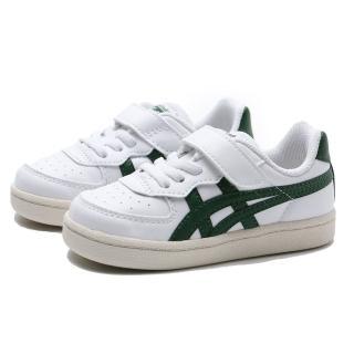 【asics 亞瑟士】ONITSUKA TIGER GSM TS 奶油底 白綠 皮革 休閒鞋 小童(1184A023106)