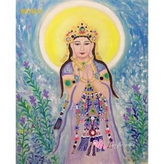 【豐財藝術】Namo Avalokiteshvara 敦煌觀世音菩薩能量真跡油畫(佛像油畫藝術收藏首選)