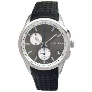 【Calvin Klein】設計款雙眼手錶-灰黑面X黑色/42mm(K5A371C3)