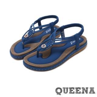 【QUEENA】個性時尚線繩編織T字經典厚底羅馬涼鞋(藍)