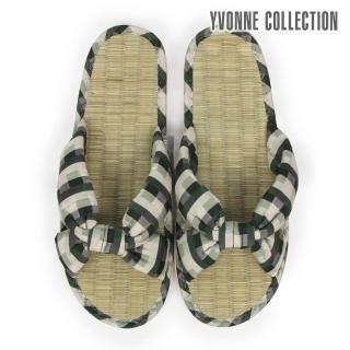 【Yvonne Collection】格紋交叉藺草拖鞋(綠)