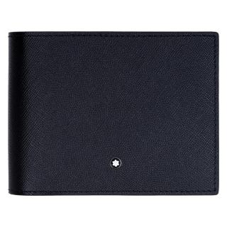 【MONTBLANC 萬寶龍】十字紋牛皮12卡短夾(黑 113209)