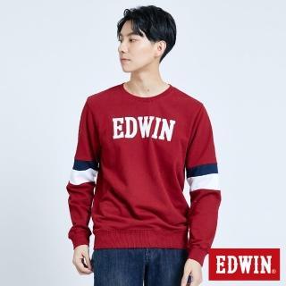 【EDWIN】運動袖配色長袖衛衣-男款(朱紅色)