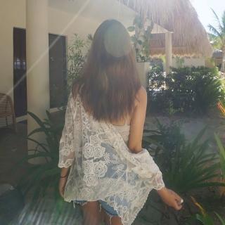【SeasonsBikini】泳衣泳裝蕾絲玫瑰防曬罩衫 -2(泳衣泳裝蕾絲玫瑰防曬罩衫)