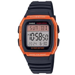 【CASIO 卡西歐】卡西歐十年電力鬧鈴多時區電子錶-橘(W-96H-4A2 台灣公司貨)