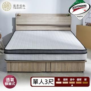 【藤原傢俬】3M防潑水蜂巢式獨立筒床墊(單人3尺3F)