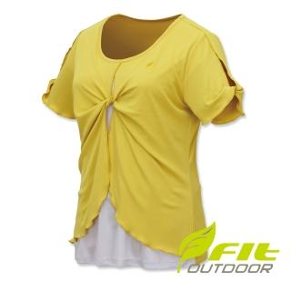 【Fit 維特】女-吸排抗UV假兩件圓領衫-芥末黃 ES2112-35(圓領/抗UV/休閒上衣)