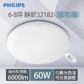 雙11限定【Philips 飛利浦】32182 靜昕 60W 6000lm LED遙控調光吸頂燈 附遙控器(晶亮版)