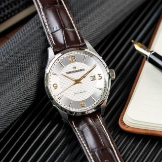 【HAMILTON 漢米爾頓】Jazzmaster 爵士經典自動上鍊機械皮革腕錶/ 咖啡(H32755551)