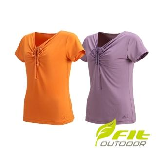 【Fit 維特】女-吸排抗UV V領衫-DS2113(抗UV/吸濕排汗/休閒上衣)