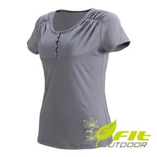 【Fit 維特】女-吸排抗UV 圓領衫-中灰 DS2123-74(圓領/抗UV/休閒上衣)