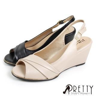 【Pretty】俐落反摺流線形楔型魚口涼鞋(米色、黑色)