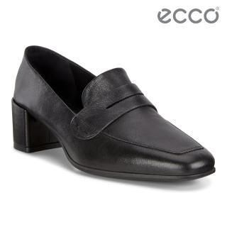 【ecco】SHAPE 35 SQUARED 現代尖頭優雅方跟高跟鞋 女鞋(黑 29051301001)