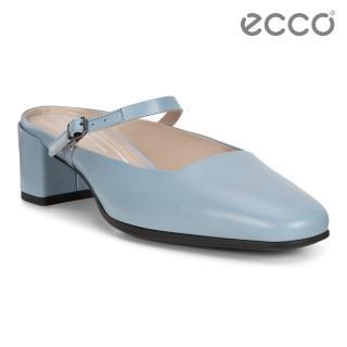 【ecco】SHAPE 35 SQUARED 復古瑪莉珍方跟涼鞋 女鞋(藍色 29052301434)