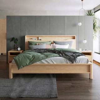 【hoi!】林氏木業北歐現代簡約床頭置物雙人5尺 150x200cm 床架組HS3A-原木色