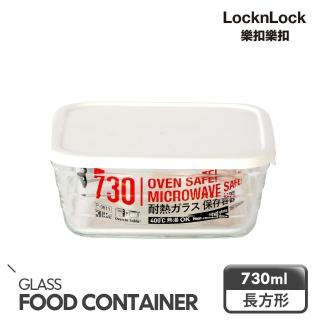 【LOCK & LOCK 樂扣樂扣】P&Q輕鬆蓋耐熱玻璃盒/ 方形/ 730ML/ 白色