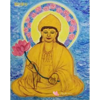 【豐財藝術】Namo Avalokiteshvara 紅蓮寶冠觀世音菩薩能量真跡油畫(佛像油畫藝術收藏首選)