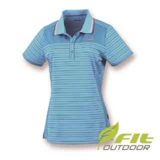 【Fit 維特】女-吸排抗UV細條紋短袖POLO衫-天藍 HS2108-51(POLO衫/抗UV/條紋款)