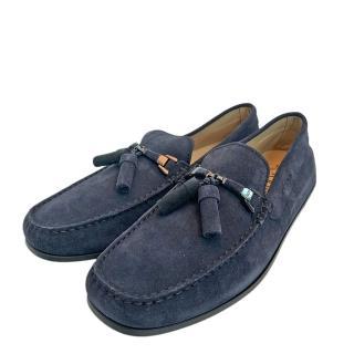 【TOD'S】經典麂皮綁帶手工豆豆鞋(深藍XXM0VH0S430RE0U805)