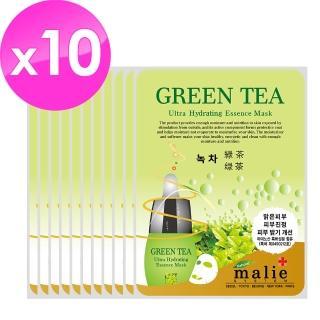 【malie媄莉】保濕精華面膜10入組(綠茶)