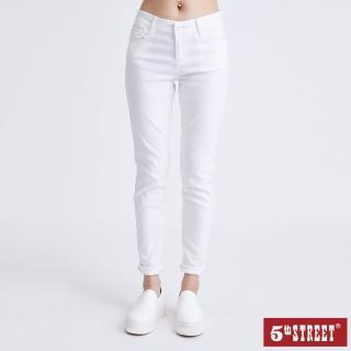 【5th STREET】女超彈力素色窄直筒褲-白色(momo獨家)