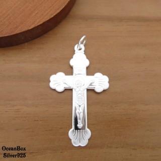 【海洋盒子】中大型。質感耶穌十字架S990足銀純銀墜子(單墜價格.送禮自用)