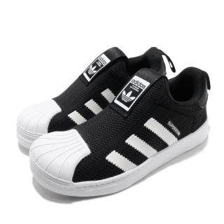 【adidas 愛迪達】休閒鞋 Superstar 360 C 襪套 童鞋 愛迪達 三葉草 貝殼頭 親子鞋 中童 黑 白(EF0891)