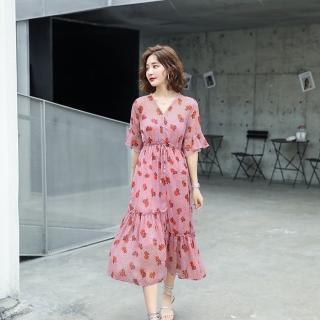 【SZ】復古輕盈V領腰抽繩雪紡印花洋裝M-XL(共二色)