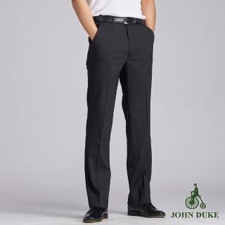 【JOHN DUKE 約翰公爵】商務伸士細條紋平面西褲_黑色(70-B7702)