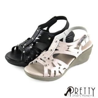 【Pretty】交叉線條鏤空鉚釘金屬皮釦楔型涼鞋(米色、黑色)
