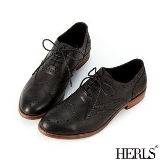 【HERLS】牛津鞋-全真皮復古翼紋沖孔雕花擦色牛津鞋(黑色)