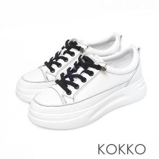 【KOKKO 集團】率性假綁帶厚底牛皮休閒鞋(經典黑)
