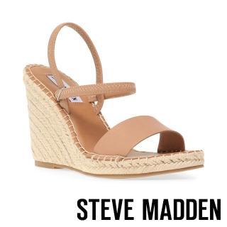 【STEVE MADDEN】MCKENZIE 交叉束帶麻編高跟涼鞋(棕)