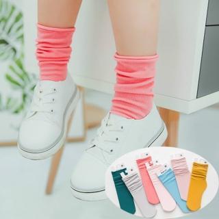 【橘魔法】純色細條天鵝絨堆堆襪 直板襪 女童 兒中筒襪(橘魔法 Baby magic 現貨 童裝)