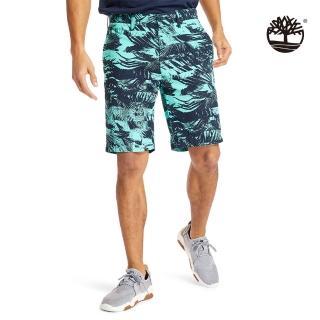 【Timberland】男款比斯開灣綠夏日森林印花府綢短褲(A2BE5AF0)