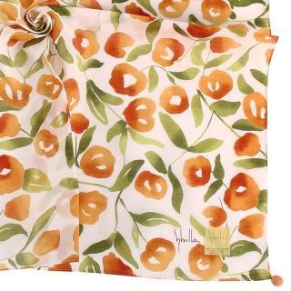【Sybilla】花團錦簇彩繪純綿帕巾領巾(橘色)