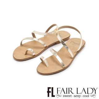 【FAIR LADY】PORRONET簡約繞帶穿趾平底涼鞋(金箔、122216)