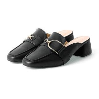 【OLLIE】韓國連線/版型偏小。慵懶時尚金屬鍊皮革穆勒鞋(72-731-3色/現貨)