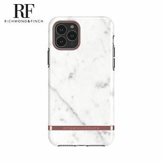 【Richmond&Finch】瑞典手機殼 大理石紋玫瑰金線框 - 白色(iPhone 11 Pro 5.8吋)