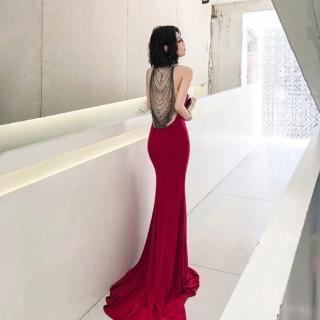 【女神婚紗禮服店】奢華性感露背魚尾復古晚禮服 提貨券
