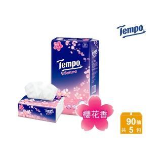 【TEMPO】四層輕巧包面紙-櫻花(90抽x5包/串)