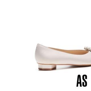 【AS 集團】深海精靈珍珠貝殼鑽飾全羊皮尖頭低跟鞋(米)