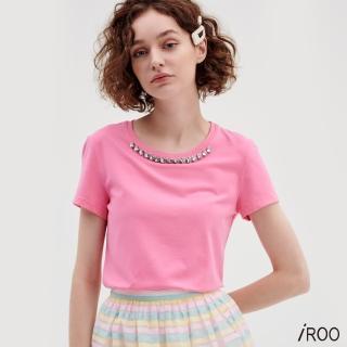 【iROO】桃紅圓領縫鑽棉T