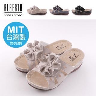 【Alberta】後底厚5cm 前底厚2cm 復古皮革花朵 楔型厚底圓頭涼拖鞋 MIT台灣製