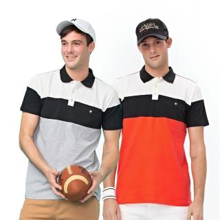 【NOFAH】橫條拼接快乾棉排汗短袖POLO衫(兩色)