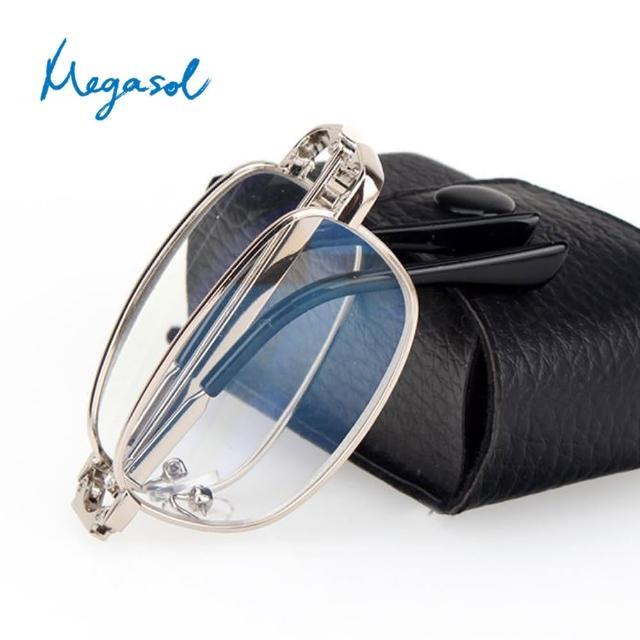 【MEGASOL】可折疊縮小便攜摺疊老花眼鏡(經典中性金屬橢方框-818)/