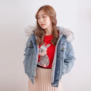 【Abbie】時尚內刷毛大毛領牛仔外套(現貨熱銷中)