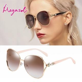 【MEGASOL】UV400防眩偏光太陽眼鏡時尚女仕大框矩方框墨鏡(魅力簍空金屬鑲鑽狐狸框3151-多色選)