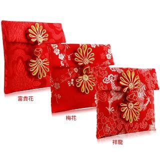 【O Pretty 歐沛媞】緞面刺繡紅包袋/收納袋(10cmX10xm-三入組-公司貨)