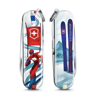 【VICTORINOX 瑞士維氏】限量迷你7用印花 瑞士刀(滑雪比賽 06223.L2008)